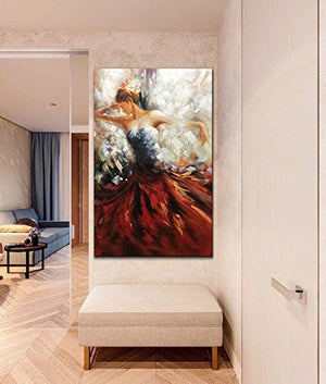 Painting Pictures Abstract Girl Dances With Dress Decor Home Wall 100% Hand Painted