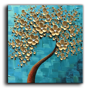Art Painting Original Square Gold Flower Light Blue Oil Painting