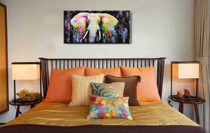 Living Room Art for Walls Abstract Colorful Elephant Canvas Painting