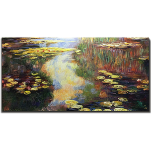 Contemporary Art For Living Room Lotus Pond Canvas Paintings