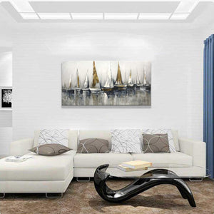 Paintings for Sale Cheap Abstract Ship Impasto  Canvas Art Decor Living Room