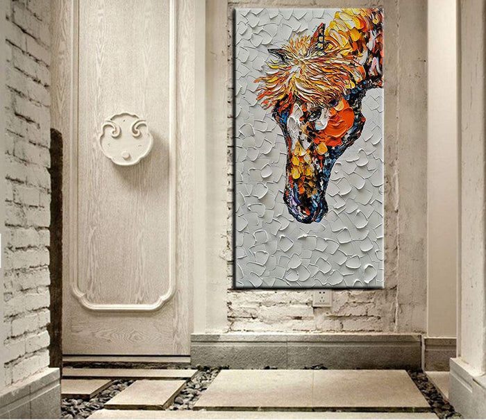 Paintings for Sale Online Horse Head Vertical Canvas Art Clear Textured Decor Hotel