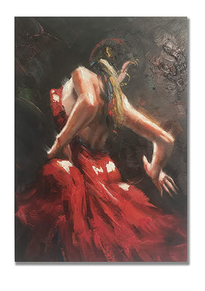 Palette Knife Art Modern Flamenco Dance Lady Decor Living Room Handmade