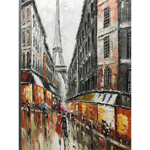 Rainy Lovers Romantic Street Eiffel Tower Paris Painting