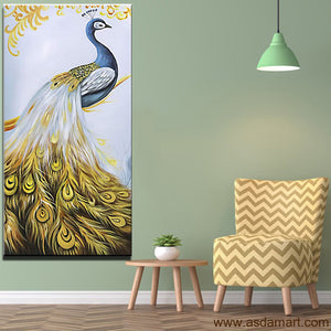 Asdam Art Peacock Wall Art 3D Textured Handmade Animal Bird Oil Painting On Canvas Modern Artwork Home Decor Paintings
