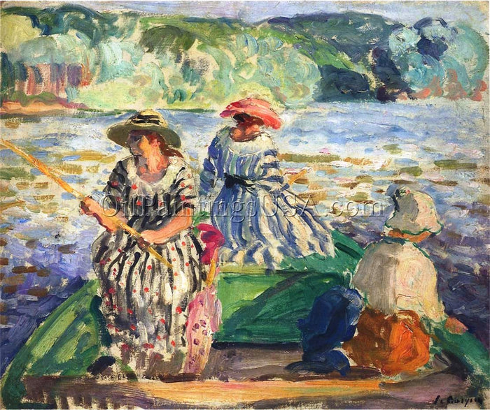 Hand Painted Pictures of Paintings Henri Lebasque A Fishing Expedition