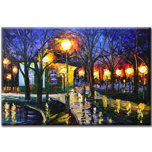 Popular Art People Go Home At Night Street Lights Brightly lit