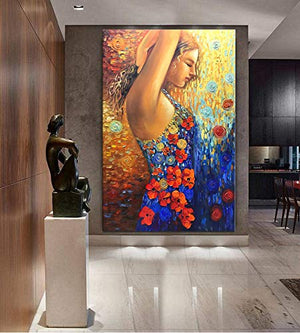 Original Canvas Wall Art Beautiful Girl Flower Dress Vertical Painting Art