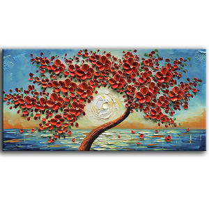 Red Canvas Wall Art Flower Tree Sunset Petals Fall Down Oil Painting