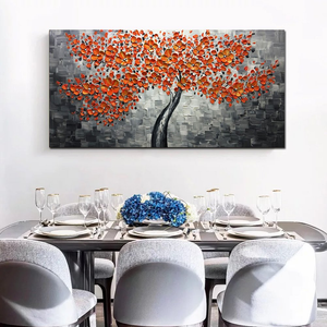 Red Abstract Painting Slight Gray Clear Textured Flower Canvas Art