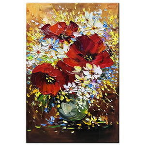 Large Red Flower Palette Knife 3D Red Wall Art for Living Room