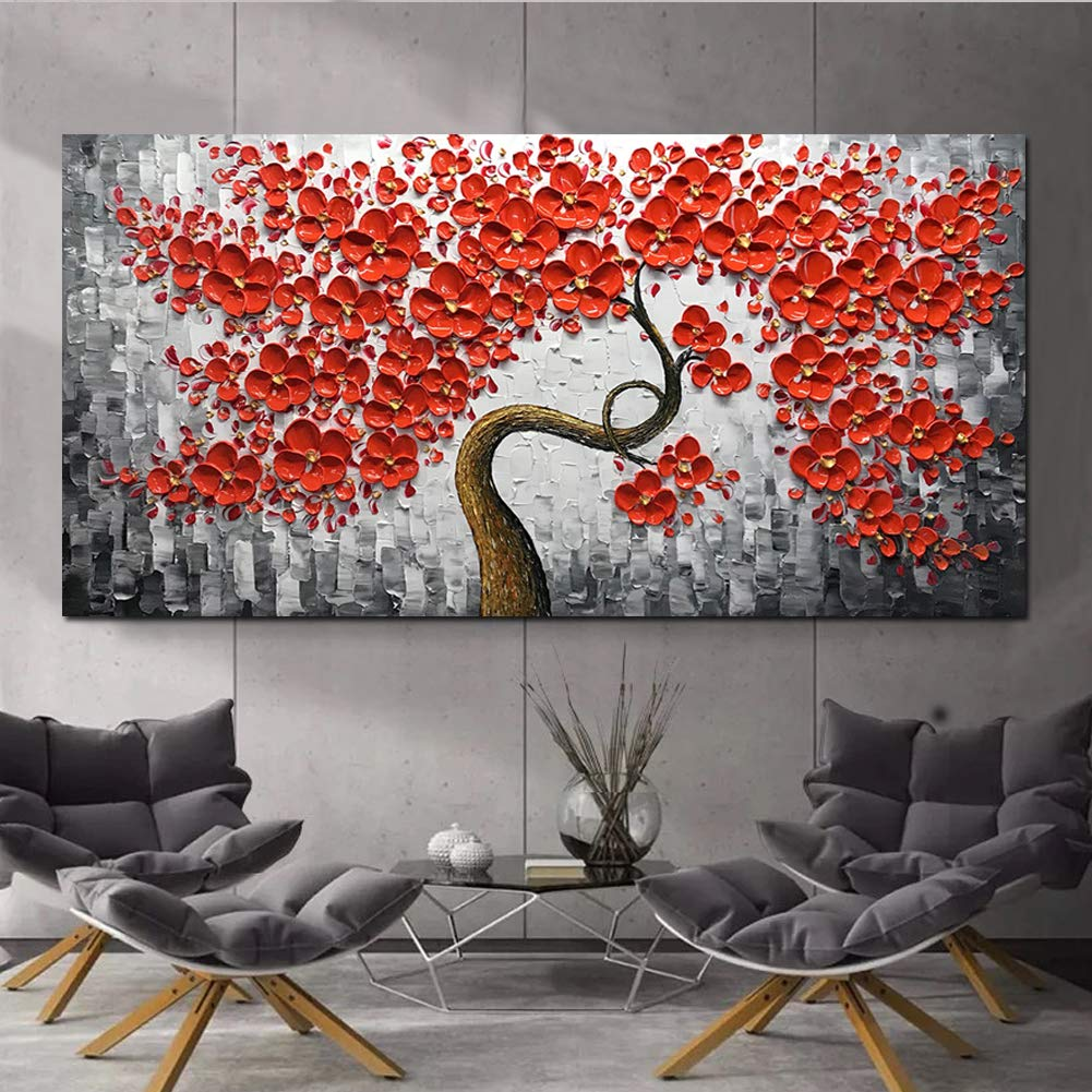 Red Wall Art Canvas Paintings Curving Trunk Flower Tree Perfect Home