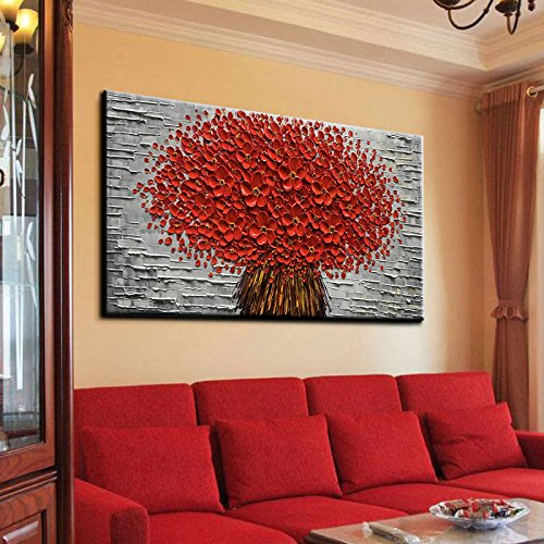 Red Wall Canvas Large Flower Bouquet Concave-Convex Textured Painting