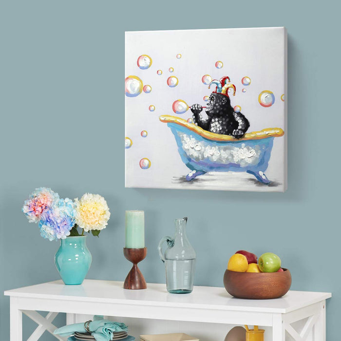 Room Wall Pictures Baby Monkey in Bathtub Blow Bubbles Decor Child Room