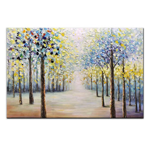 Warm Color Contemporary Oil Painting Forest Handmade No Fade Unframe