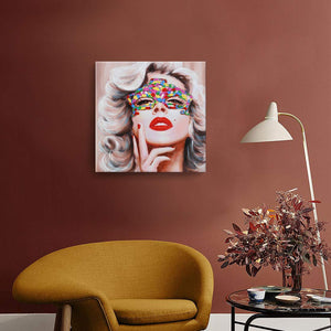 Sexy Lady Canvas Painting Square Hand Painted Wall Art Decor Living Room