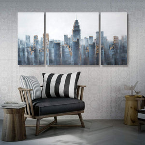 3 Panels Canvas Art Blue City Scene Wall Art Decor Living Room