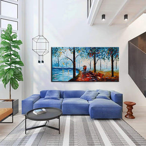 Unique Wall Art for Living Room Light Blue Forest Lover carry Umbrella