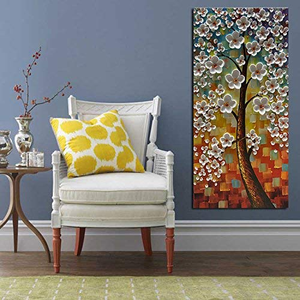 Vertical Canvas Art Flower Tree Decor Hallway 100% Hand Painted No Fade