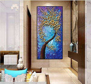 Vertical Paintings Gold Flower Tree Canvas Art Decor Living Room