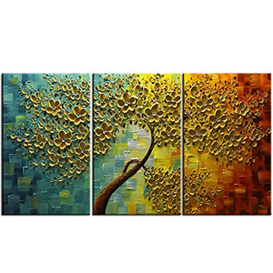 Canvas Wall Art Gold Flower Tree 3 Pieces Canvas Paintings for Living Room