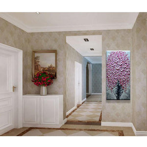 Pink Vertical Flower and Vase Wall Art Decor Hallway