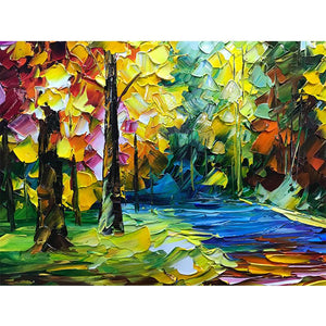 Abstract Maple Forest Palette Knife Wall Art Decor for Living Room