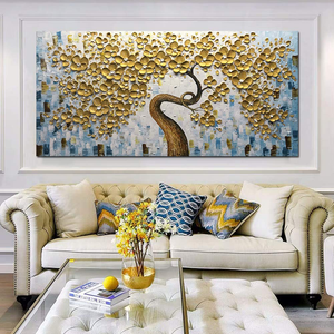 Bedroom Wall Art Wealth Gold Flower Tree Decor Blank Wall Upgrade Life