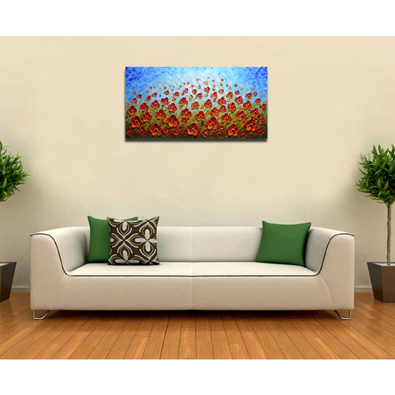 3D Blue Texture Red Flower Wall Art Ideas For Large Wall