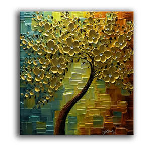 Artwork for Living Room Walls Gold Square Flower Canvas Paintings