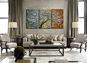 Multi Canvas Art Three Set Hand Painted White Flower Oil Paintings
