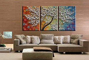 3 Piece Canvas Paintings 100% Hand Painted Abstract Flower Wall Art