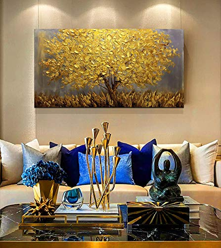 Yellow Wall Art Canvas Flower Tree Large Acrylic Painting Decor Office