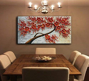 Abstract Wall Art for Living Room Red 3D Hand Painted Canvas Art
