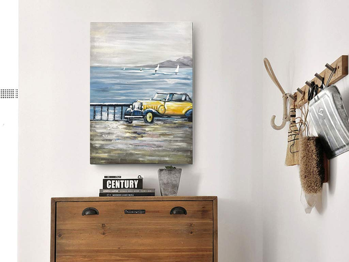 Wrapped Canvas Art Yellow Car Drives Seaside Handmade Painting