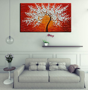 White Canvas Art Flower Wealth Tree Orange Background Gift to Parents