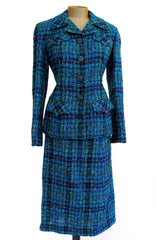 Blue Tweed Hourglass Suit