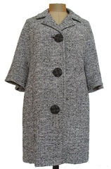 Tweed Car Coat with Peaked Buttons