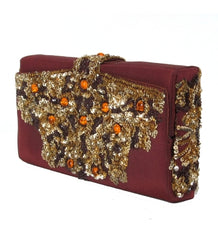 Sequined Satin Koret Box Clutch