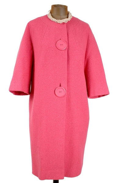 1960s Big Button Cocoon Coat in Pink - Unique Boutique NYC  - 1