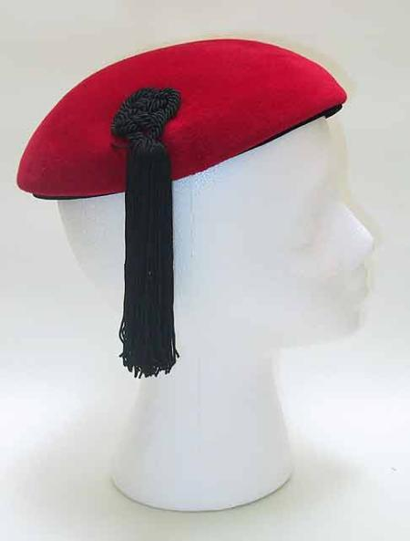 Red Wool Beret with Silk Black Fringe - Unique Boutique NYC  - 1