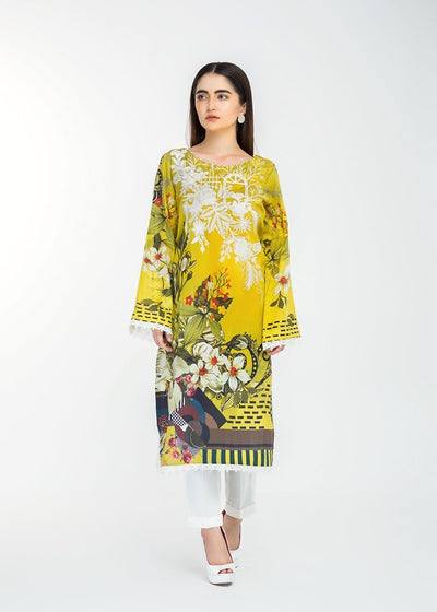 Stitched Embroidered Kurti Yellow Meadows