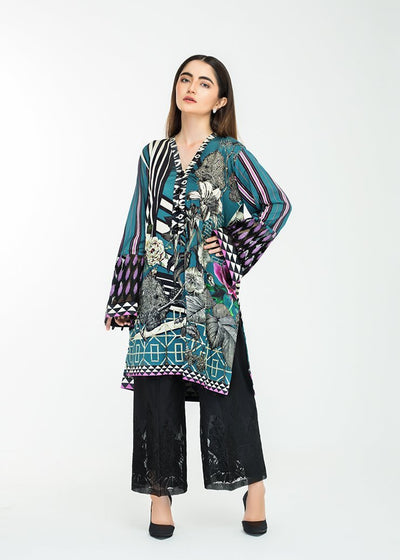 Stitched Embroidered Kurti Ocean Fantasy