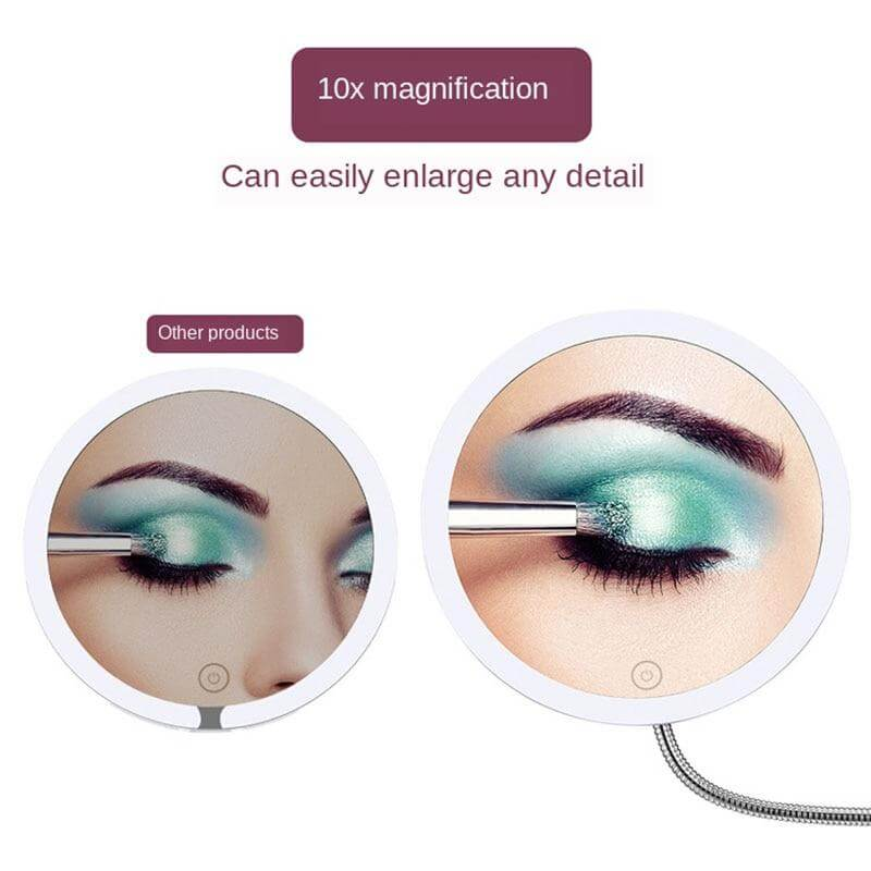 Upgraded 10x Magnifying Touch Screen Makeup Mirror with 3 LED Colour