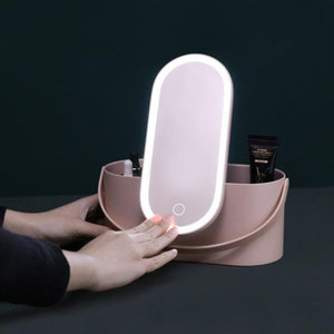 Portable Travel LED Lights Makeup Mirror Box