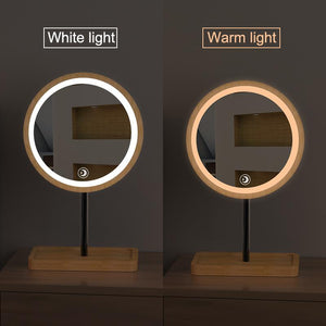 Wooden 3 Colour LED 3X Magnifying Desktop Makeup Mirror