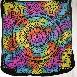 Large Square Floor Cushion - Rainbow Lotus