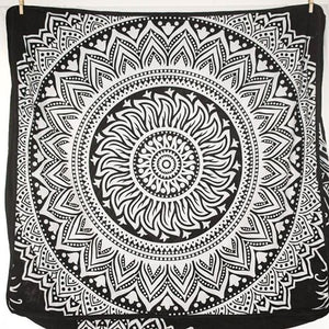 Large Square Floor Cushion - Black and White Sun