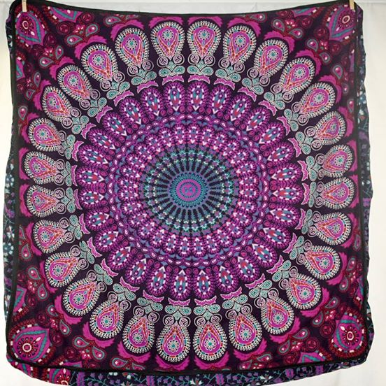 Large Square Floor Cushion - Purple Peacock