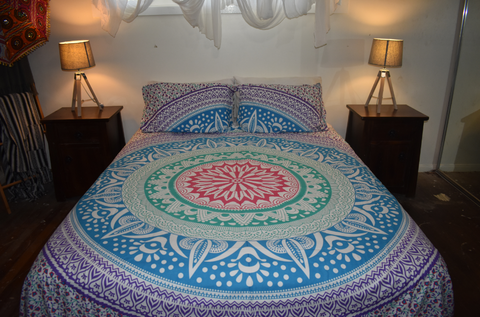 Queen Size Sheet & Pillow Case Set - Aztec Rings